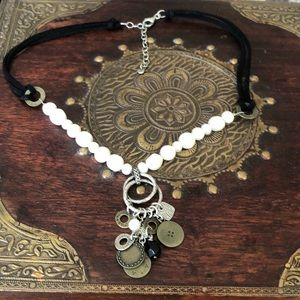 Silpada Faux Leather SS Brass Coin Necklace